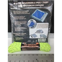 New 8 x 10ft Poly Tarp & 550lb Paracord  7 strand 100 ft reflective