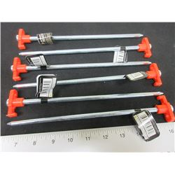 """6 New Heavy Duty Steel Tent Pegs 10"""" long x 1/4"""" thick / for Hard ground"""