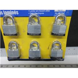 6 New Padlocks all keyed alike / comes with 12 keys