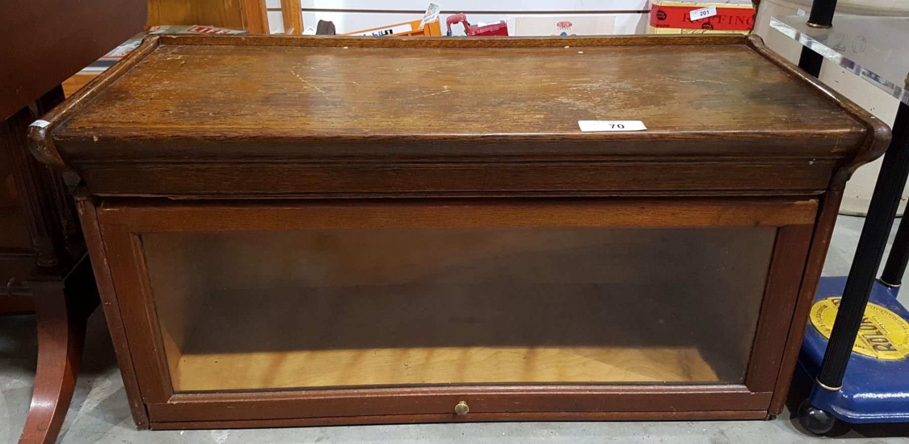 Antique Oak Single Tier Barrister Bookcase