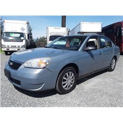 A12C --  2007 CHEVROLET MALIBU LS SEDAN, GREY, 156,881 KMS
