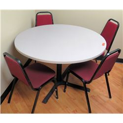 "Round Table (47.5""Dia, 30""H) w/ 4 Padded Metal Frame Chairs"