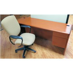 "Long Wooden Desk w/ Drawers, 72""L x 24""D x 30""H, OfficeChair Included"