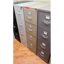 "Qty 2 Vertical File Cabinets, Beige and Lt. Gray 15""W x 25""D x 52""H"