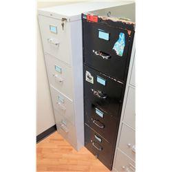 "Qty 2 Vertical File Cabinets (HON, Steelcase), Black 15""W x 28.5""D x 52.5""H & Lt. Gray 15""W x 25""D x"