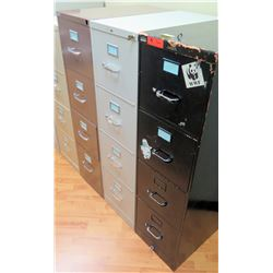 Qty 3 Vertical File Cabinets (HON, Steelcase), Black & Lt. Gray, Brown