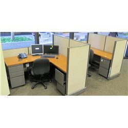 Cubicle System w/ 2 Desks, File Cabinets, 2 Office Chairs