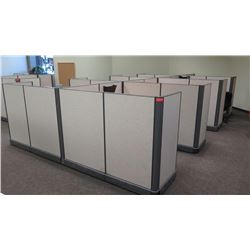 Cubicle System w/ 8 Desks, File Cabinets, 8 Office Chairs