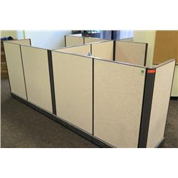 Cubicle System w/ 3 Desks, File Cabinets, 3 Office Chairs