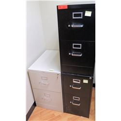 "Qty 3 Short Stackable File Cabinets (HON, etc), 2 Black 15""W x 26.5""D x 29""H & 1 Lt. Gray 18""W x 26."