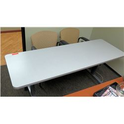 "Utility Table (Desk) w/ Wheels 72"" x 24"" x 29.5""H & 2 Reception Chairs"