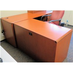 "Wooden L-Shaped Desk Ensemble w/ Office Chair, Small Bookcase 72""x24""30""H & 48""x24""29""H"