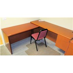 "Wooden L-Shaped Desk Ensemble w/ Chair 48"" x 24"" x 28""H & 72"" x 24"" x 30""H"