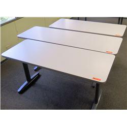 """Qty 3 Utility Tables (Desks), 60"""" x 24"""" x 29.5""""H & 72"""" x 24"""" x 29.5""""H"""