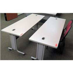 "Utility Tables (Desks) w/ Wheels 72"" x 24"" x 29.5""H & 2 Chairs"