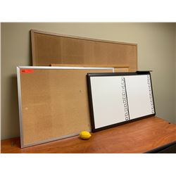 Qty 4 Corkboards / Dry Erase Board (Various Sizes)
