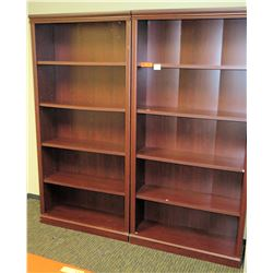 """Qty 2 Matching Wooden Bookcases (each 35.5"""" x 12"""" x 73""""H)"""