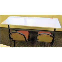 """HON Basyx Folding Utility Table (Desk) w/ Wheels 71"""" x 24"""" x 29.5""""H & 2 Chairs"""