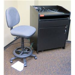 """Black Podium w/ Cabinet 33""""W x 25""""D x 43.5""""H (electronics not included), Office Chair Included"""