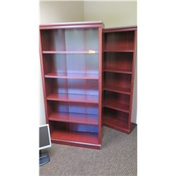 """Qty 2 Matching Wooden Bookcases 35.5""""W x 12""""D x 73""""H"""