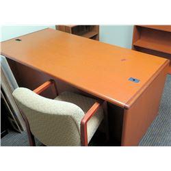 """Wooden Desk 72""""L x 36""""D x 30""""H w/ Reception Chair & Wooden Bookcase"""