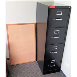 """Vertical File Cabinet (HON) 15"""" x 25"""" x 52""""H & Corkboard"""