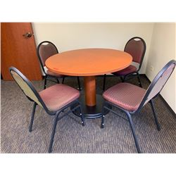 """Round Wooden HON Table 42"""" Dia, 29.5"""" H (Includes 4 Chairs)"""