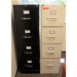 "Qty 2 Vertical File Cabinets (HON) 15""W x 26""D x 53""H, Black & Beige"