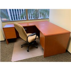 """Wooden Desk 66""""L x 30""""D x 30""""H and Office Chair"""
