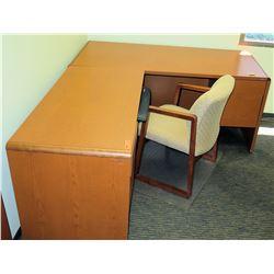 "Wooden Desk 48""L x 24"" x 30""H w/ Reception Chair"