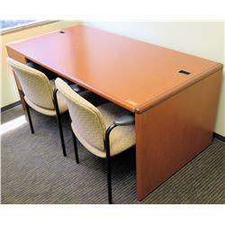 "Wooden Desk 72""L x 36""D x 30""H w/ 2 Reception Chairs"