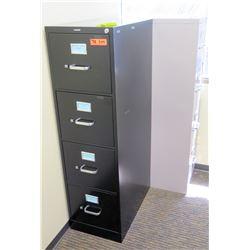 "Qty 2 Vertical File Cabinets (HON) 15""W x 25""D x 52""H, Black & Beige/Gray"