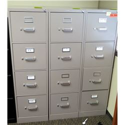 """Qty 3 Vertical File Cabinets (HON), Gray 15""""W x 26.5""""D x 52""""H"""