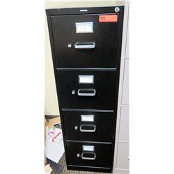 "Qty 1 Vertical File Cabinet (HON), Black 15""W x 25""D x 49""H"