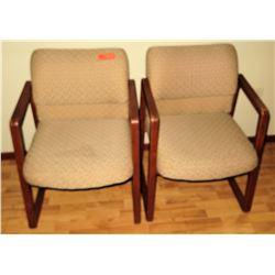 Qty 2 Upholstered Wooden Reception Chairs