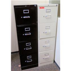"Qty 2 Vertical File Cabinets (HON), Black & Lt. Gray, 15""W x 26.5""D x 52""H"