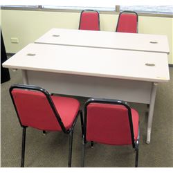 "Qty 2 Utility Tables (Desks) 60""W x 24""D x 29.5""H) w/ 4 Chairs"