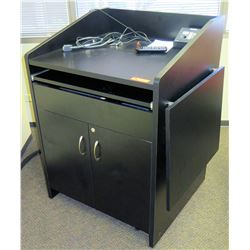 """Black Podium w/ Cabinet 33"""" x 25""""D x 43.5""""H (electronics shown in photos not included)"""