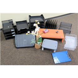 Misc. Office Accessories: Organizer Trays, Risers, Faux Orchid, etc.