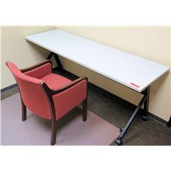 "HON Basyx Folding Utility Table (Desk) w/ Wheels 71"" x 24"" x 29.5""H & 1 Reception Chair"