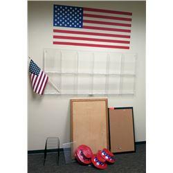Acrylic Wall Organizer, 2 Corkboards, U.S. Flag, Paper Organizer, Plastic Hats