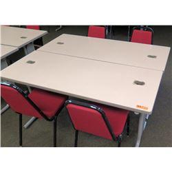 "Qty 2 Utility Tables (Desks) 60"" x 24"" x 29""H & 4 Chairs"