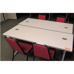 """Qty 2 Utility Tables (Desks) 60"""" x 24"""" x 29""""H & 4 Chairs (1 table has wheels)"""