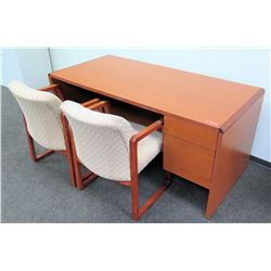 """Wooden Desk 66""""L x 30""""D x 30""""H and 2 Reception Chairs"""
