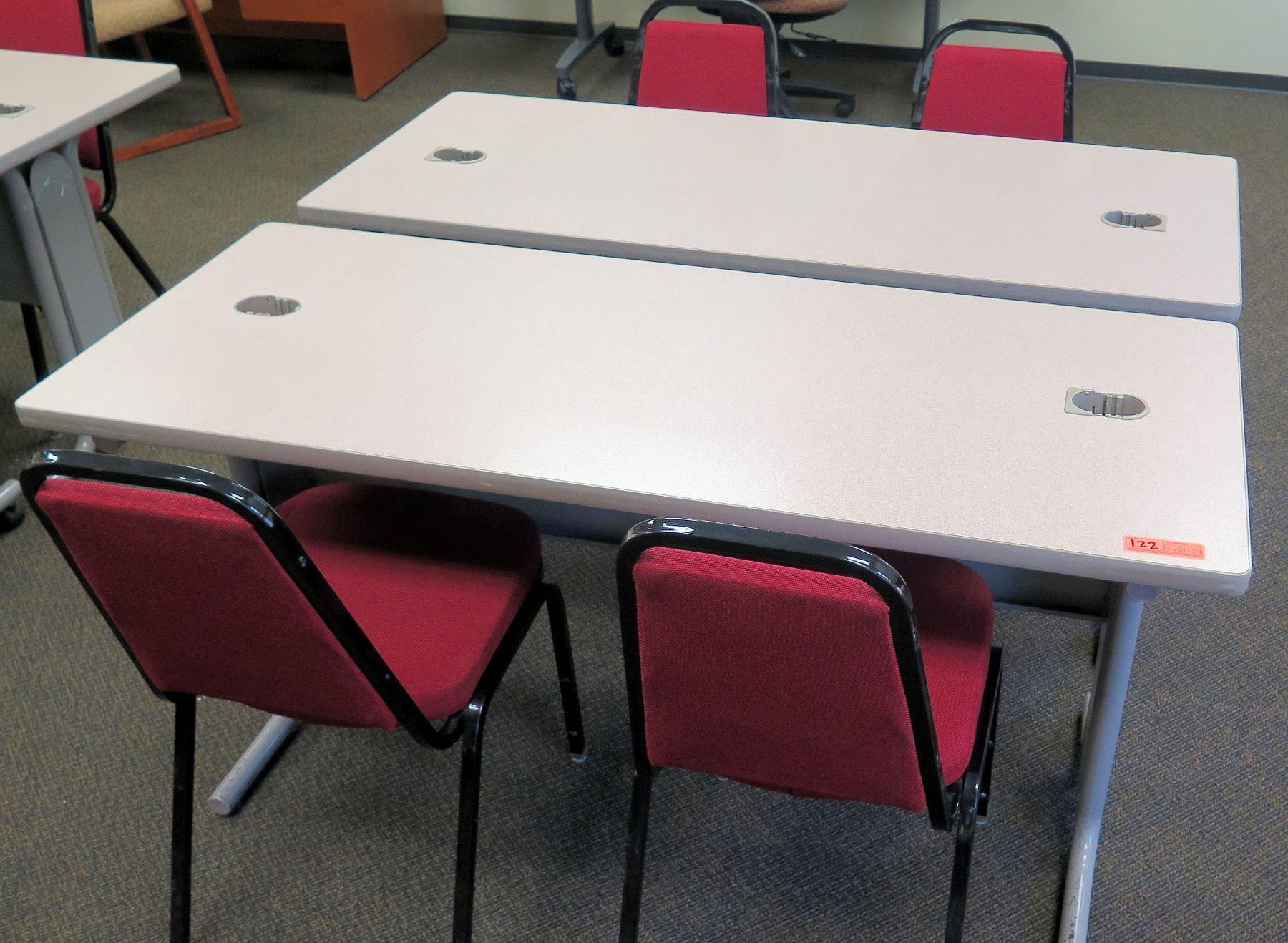 Qty 2 Utility Tables Desks 60 X 24 X 29 H 4 Chairs