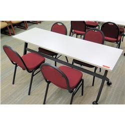 """HON Basyx Folding Utility Table (Desk) w/ Wheels 71"""" x 24"""" x 29.5""""H & 4 Chairs"""