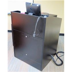 "Black Podium w/ Cabinet 33"" x 25""D x 43.5""H (electronics shown in photos not included)"