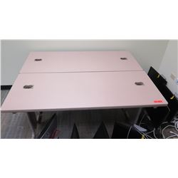 "Qty 2 Utility Tables (Desks) 60"" x 24"" x 29""H - Monitors & electronics shown in pictures not include"