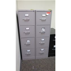 "Qty 2 Vertical File Cabinets (HON), Gray 15""W x 26.5D"" x 52""H"
