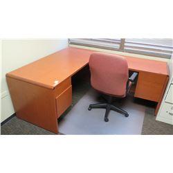 "Wooden Desk 65""L x 30""D x 30""H w/ Office Chair"